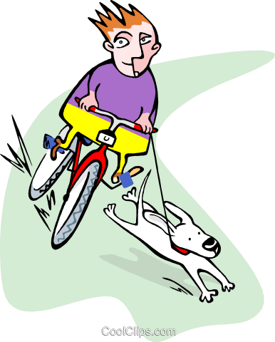 young boy on bike with dog Royalty Free Vector Clip Art illustration peop3376