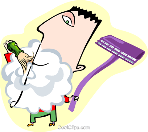 Man shaving Royalty Free Vector Clip Art illustration peop3382
