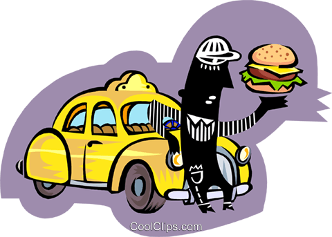 taxi driver taking lunch break Royalty Free Vector Clip Art illustration peop3386
