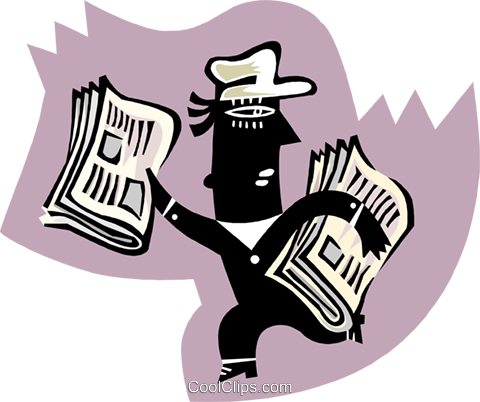 newspaper boy Royalty Free Vector Clip Art illustration peop3388
