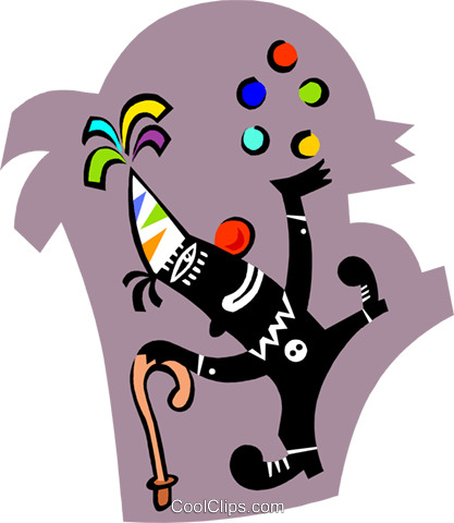 clown juggling balls Royalty Free Vector Clip Art illustration spec0321
