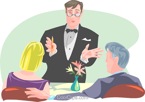 waiter serving couple Royalty Free Vector Clip Art illustration spec0322
