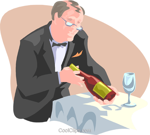 waiter presenting wine bottle Royalty Free Vector Clip Art illustration spec0323