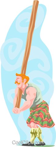 strongman lifting log Royalty Free Vector Clip Art illustration trav0093
