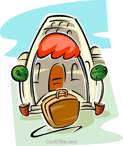resort with suitcase at step Royalty Free Vector Clip Art illustration trav0103