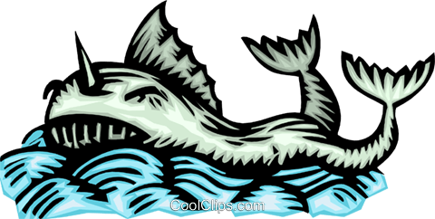 Woodcut ocean creature Royalty Free Vector Clip Art illustration anim2041