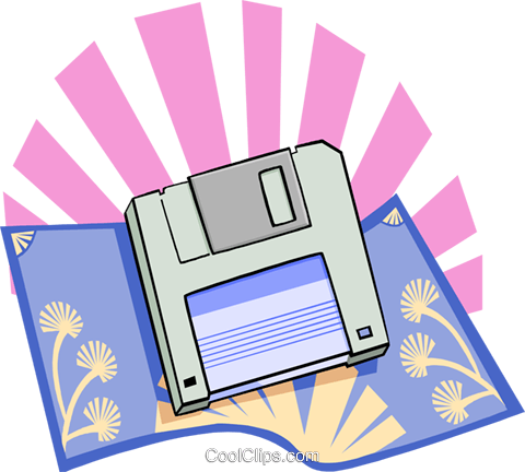 computer 3.5 disks Royalty Free Vector Clip Art illustration busi1618
