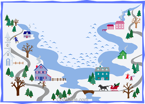 winter landscape Royalty Free Vector Clip Art illustration divi0117