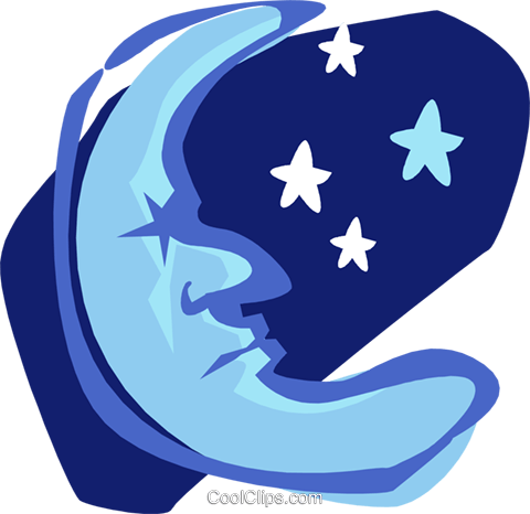 sleepy moon Royalty Free Vector Clip Art illustration natu0906