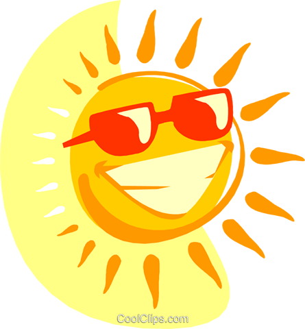Smiling sun with sunglasses Royalty Free Vector Clip Art illustration natu0907