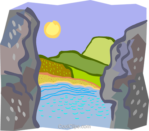 view of coast between rocks Royalty Free Vector Clip Art illustration natu0915