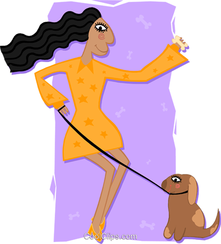 woman with dog Royalty Free Vector Clip Art illustration peop3417