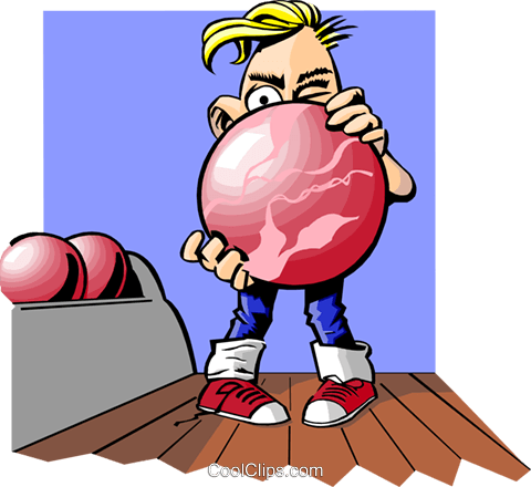 Bowler eyeing the target Royalty Free Vector Clip Art illustration peop3422