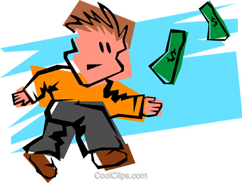 scrambling for dollars Royalty Free Vector Clip Art illustration peop3441