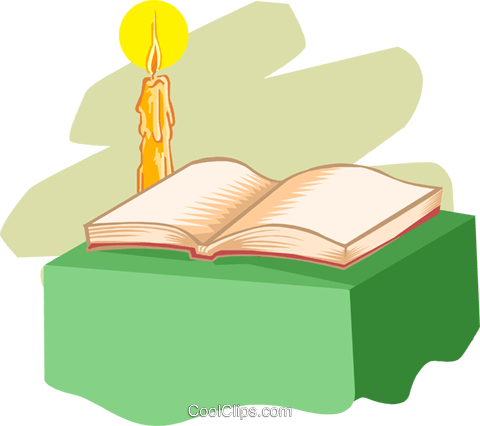 book with candle Royalty Free Vector Clip Art illustration spec0325