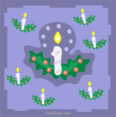 candles with holly Royalty Free Vector Clip Art illustration spec0329