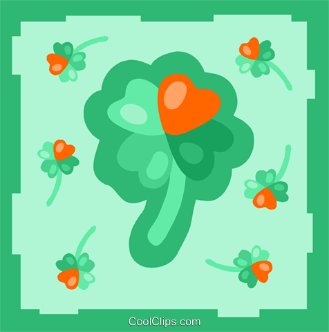 Four leaf clovers with hearts Royalty Free Vector Clip Art illustration spec0334