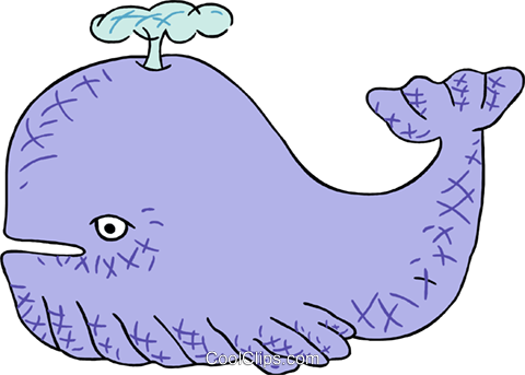 cartoon whale Royalty Free Vector Clip Art illustration anim2046