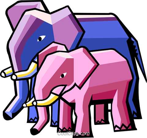 stylized elephants Royalty Free Vector Clip Art illustration anim2049