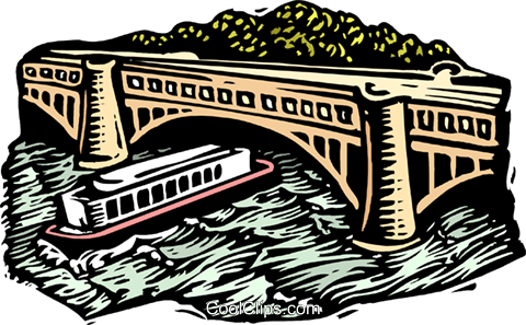 woodcut tour boat Royalty Free Vector Clip Art illustration arch0504