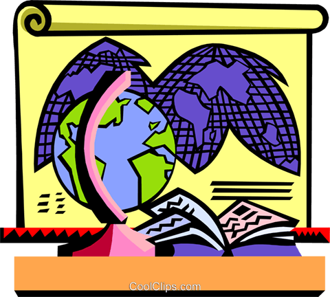 Education/geography, globe and map Royalty Free Vector Clip Art illustration educ0012