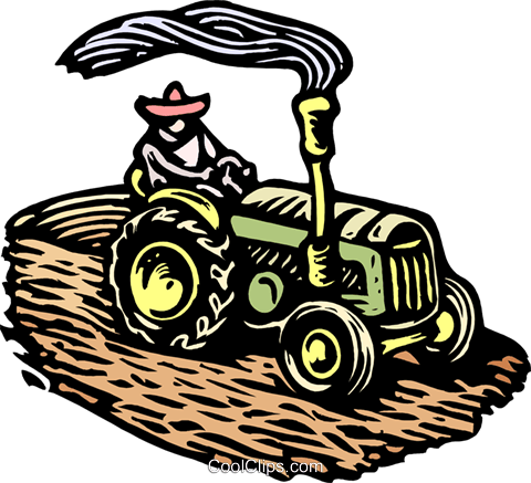 Woodcut tractor Royalty Free Vector Clip Art illustration indu0965