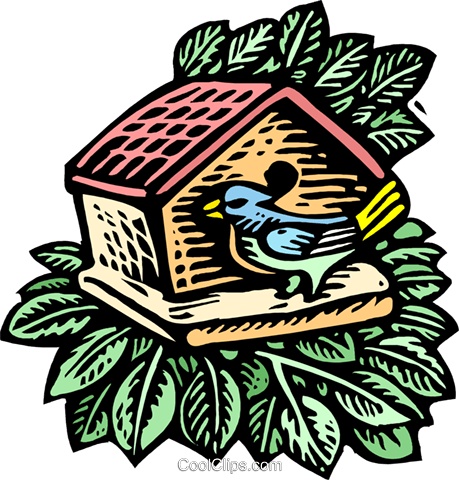 bird at birdhouse Royalty Free Vector Clip Art illustration natu0924