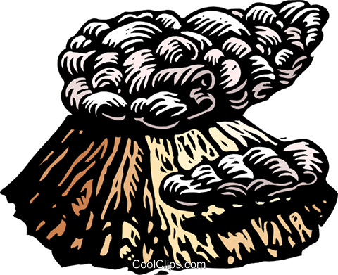 smoking volcano Royalty Free Vector Clip Art illustration natu0931