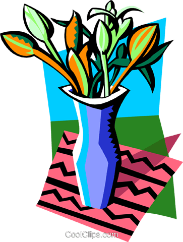 vase of flowers Royalty Free Vector Clip Art illustration natu0934