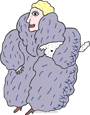 woman in fur coat Royalty Free Vector Clip Art illustration peop3481