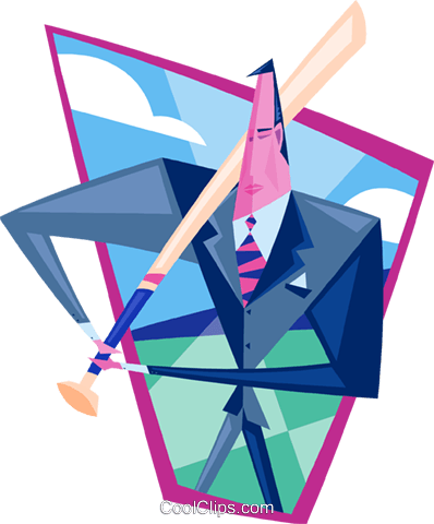 businessman at bat Royalty Free Vector Clip Art illustration peop3491