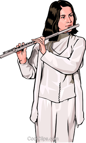 Female flutist Royalty Free Vector Clip Art illustration peop3500