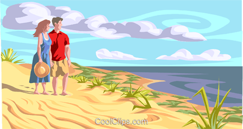 on the beach Royalty Free Vector Clip Art illustration peop3507