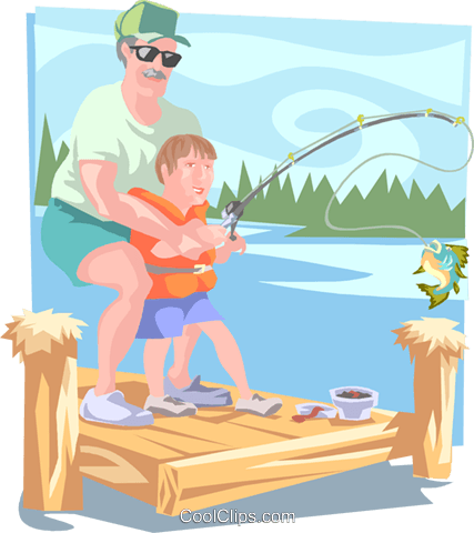 Father and son fishing from dock Royalty Free Vector Clip Art illustration peop3509