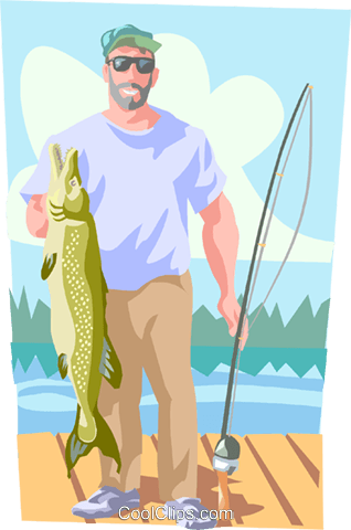 Fishermen with large fish Royalty Free Vector Clip Art illustration peop3510