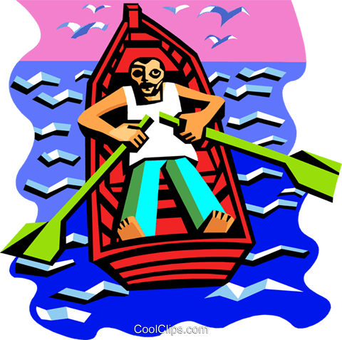 Man in rowboat Royalty Free Vector Clip Art illustration peop3516