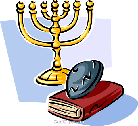 menorah, yarmulke and bible Royalty Free Vector Clip Art illustration spec0337