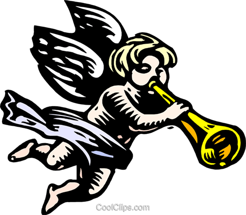 angel playing trumpet Royalty Free Vector Clip Art illustration spec0338