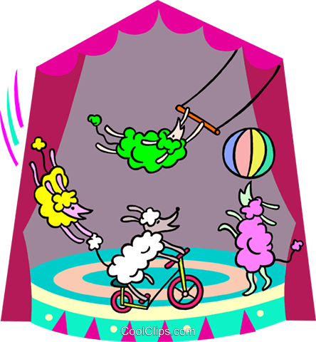 dogs performing tricks Royalty Free Vector Clip Art illustration spec0347