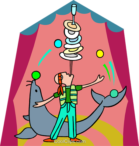 balancing act with seal Royalty Free Vector Clip Art illustration spec0350