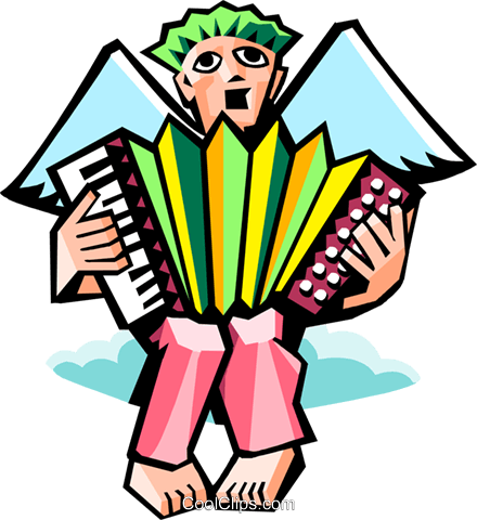 angel playing accordion Royalty Free Vector Clip Art illustration spec0354