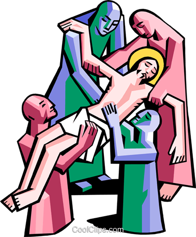 Jesus is removed from cross Royalty Free Vector Clip Art illustration spec0355