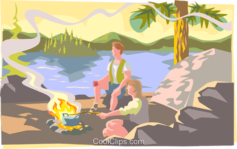 People sitting by camp fire Royalty Free Vector Clip Art illustration spor0395