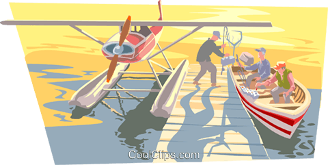 Pontoon plane with awaiting fishermen Royalty Free Vector Clip Art illustration spor0398