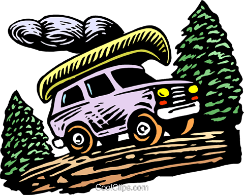 Canoe on sport utility vehicle Royalty Free Vector Clip Art illustration tran0967