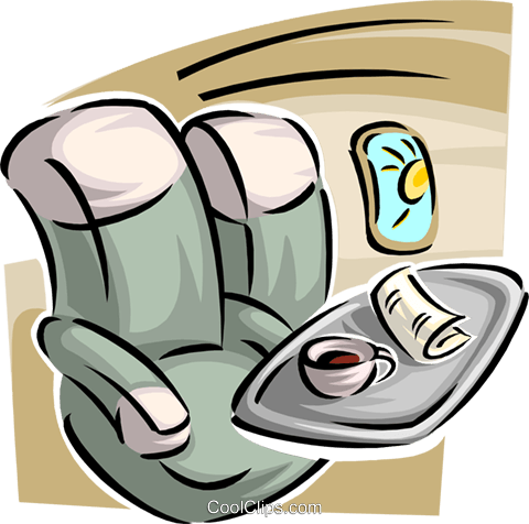Passenger seats on a plane with food tray Royalty Free Vector Clip Art illustration trav0107