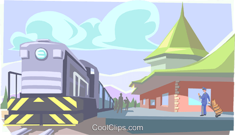 train at station Royalty Free Vector Clip Art illustration trav0116