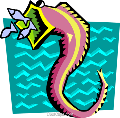 Stylized seahorse Royalty Free Vector Clip Art illustration anim2053