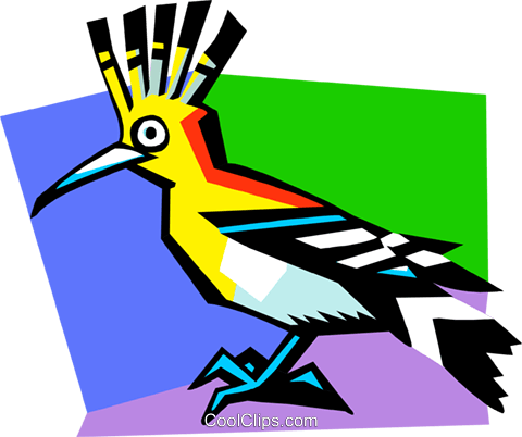 Stylized tropical bird Royalty Free Vector Clip Art illustration anim2055