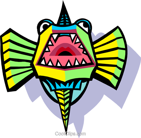 stylized fish Royalty Free Vector Clip Art illustration anim2061
